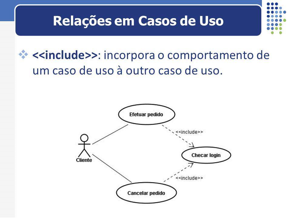 >: incorpora o comportamento de um caso de uso à outro caso de uso. Relações em Casos de Uso