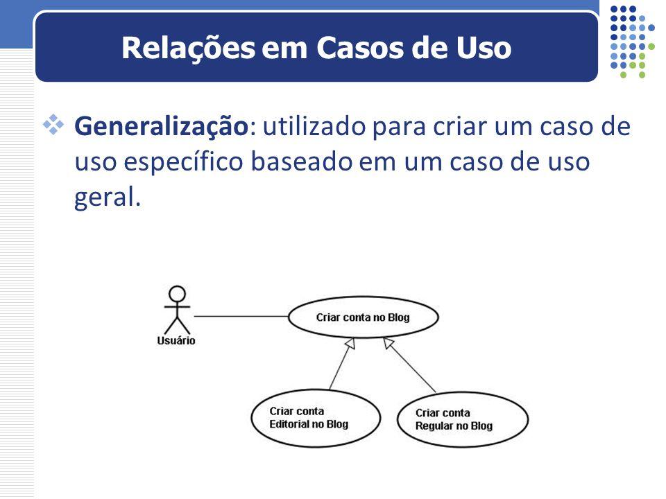 Generalização: utilizado para criar um caso de uso específico baseado em um caso de uso geral. Relações em Casos de Uso