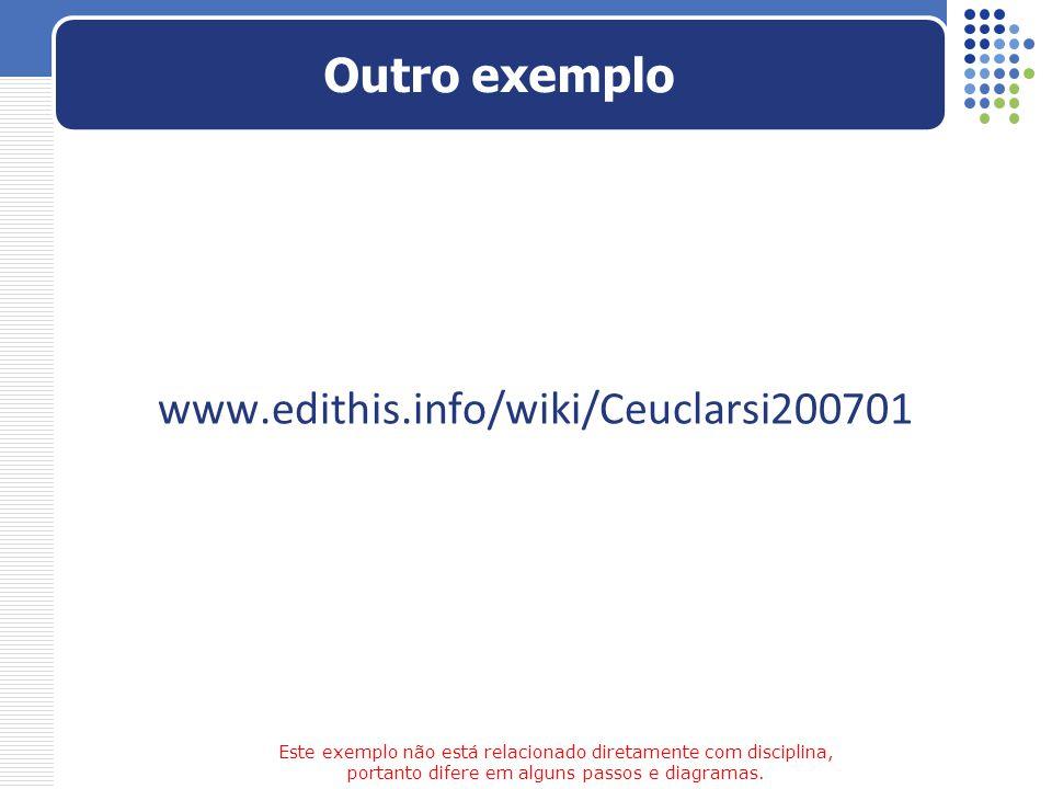 Outro exemplo www.edithis.info/wiki/Ceuclarsi200701 Este exemplo não está relacionado diretamente com disciplina, portanto difere em alguns passos e d