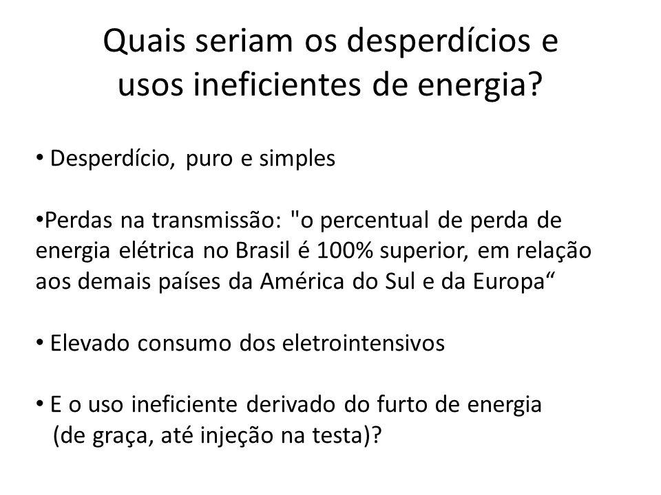 Quais seriam os desperdícios e usos ineficientes de energia.