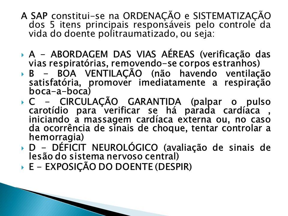 A SAP constitui-se na ORDENAÇÃO e SISTEMATIZAÇÃO dos 5 itens principais responsáveis pelo controle da vida do doente politraumatizado, ou seja: A - AB