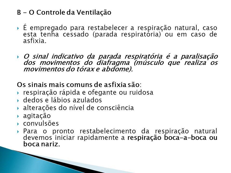 B - O Controle da Ventilação É empregado para restabelecer a respiração natural, caso esta tenha cessado (parada respiratória) ou em caso de asfixia.