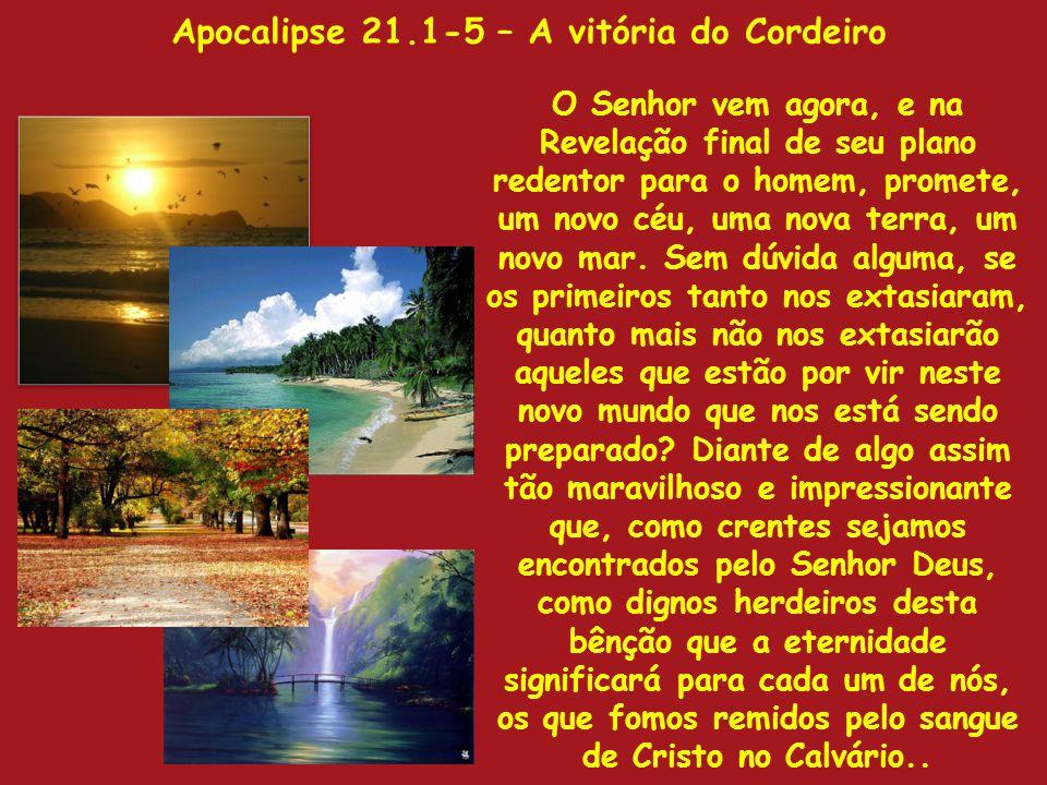 Apocalipse 21.1-5 – A vitória do Cordeiro O Senhor vem agora, e na Revelação final de seu plano redentor para o homem, promete, um novo céu, uma nova