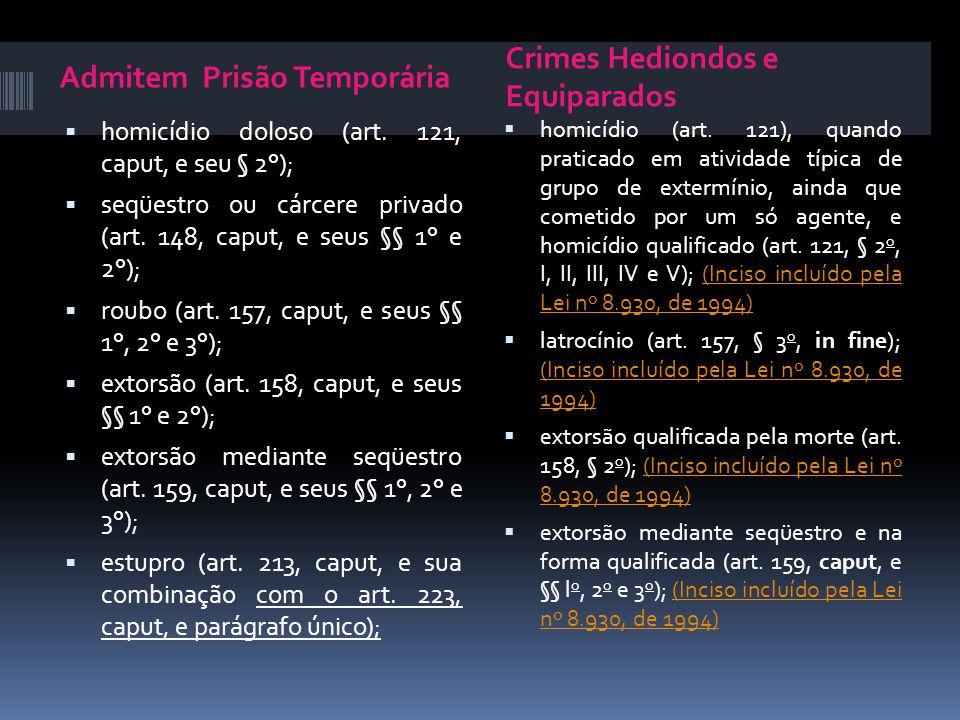 Admitem Prisão Temporária Crimes Hediondos e Equiparados homicídio doloso (art. 121, caput, e seu § 2°); seqüestro ou cárcere privado (art. 148, caput