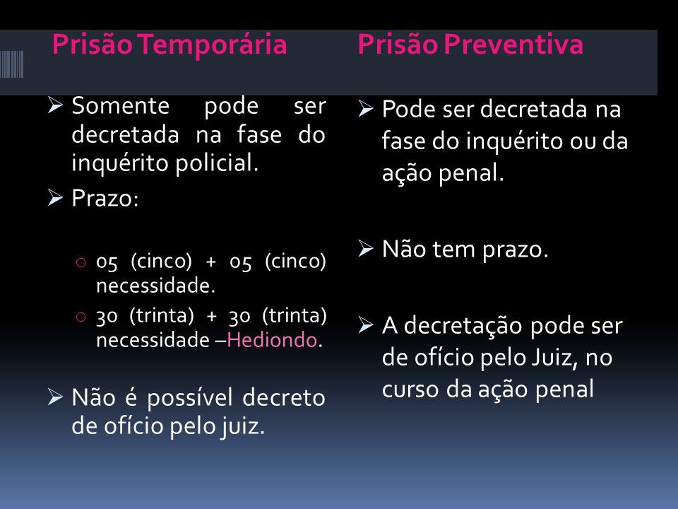 Prisão TemporáriaPrisão Preventiva Somente pode ser decretada na fase do inquérito policial. Prazo: o 05 (cinco) + 05 (cinco) necessidade. o 30 (trint