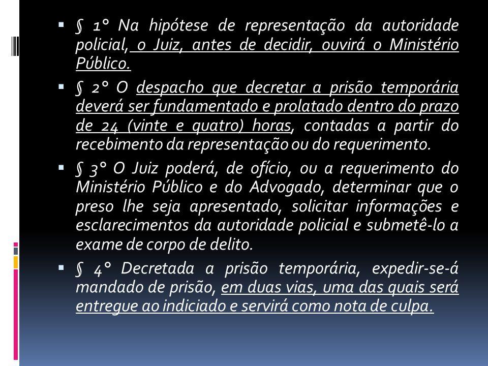§ 1° Na hipótese de representação da autoridade policial, o Juiz, antes de decidir, ouvirá o Ministério Público. § 2° O despacho que decretar a prisão