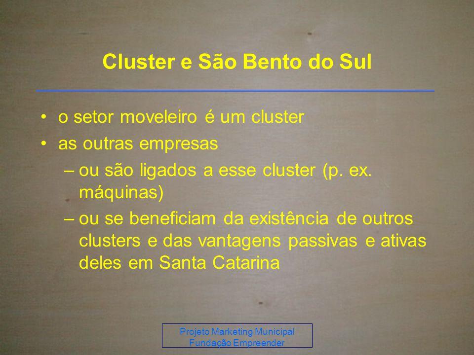 Projeto Marketing Municipal Fundação Empreender Cluster e São Bento do Sul o setor moveleiro é um cluster as outras empresas –ou são ligados a esse cluster (p.
