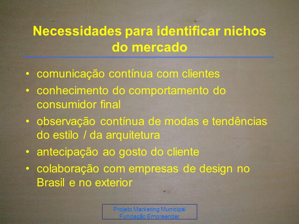 Projeto Marketing Municipal Fundação Empreender Necessidades para identificar nichos do mercado comunicação contínua com clientes conhecimento do comportamento do consumidor final observação contínua de modas e tendências do estilo / da arquitetura antecipação ao gosto do cliente colaboração com empresas de design no Brasil e no exterior
