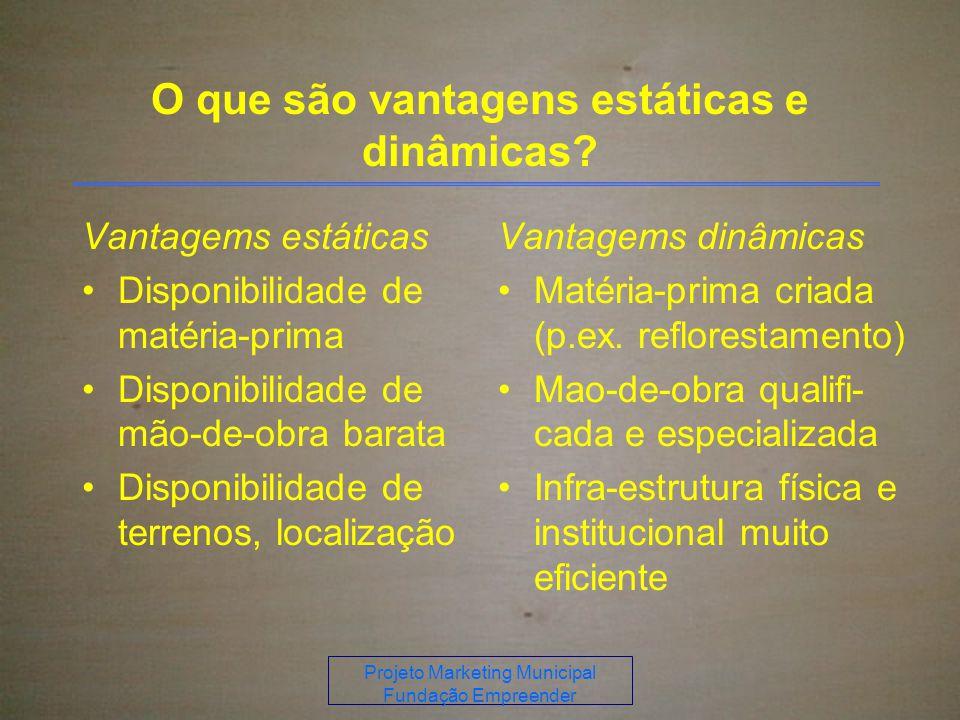 Projeto Marketing Municipal Fundação Empreender O que são vantagens estáticas e dinâmicas.