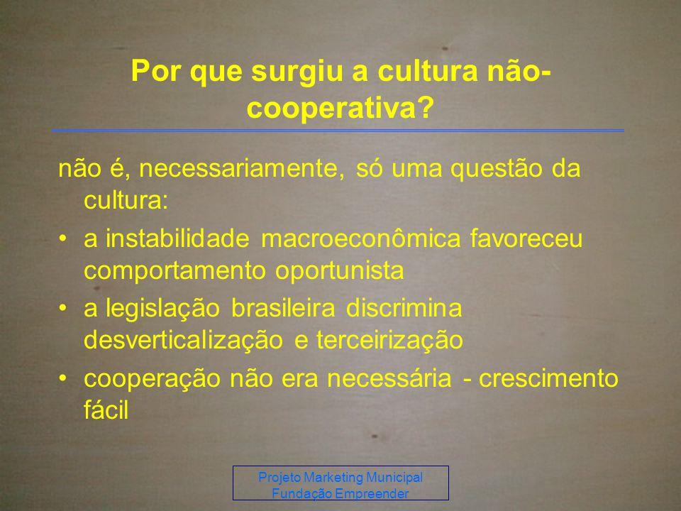 Projeto Marketing Municipal Fundação Empreender Por que surgiu a cultura não- cooperativa.