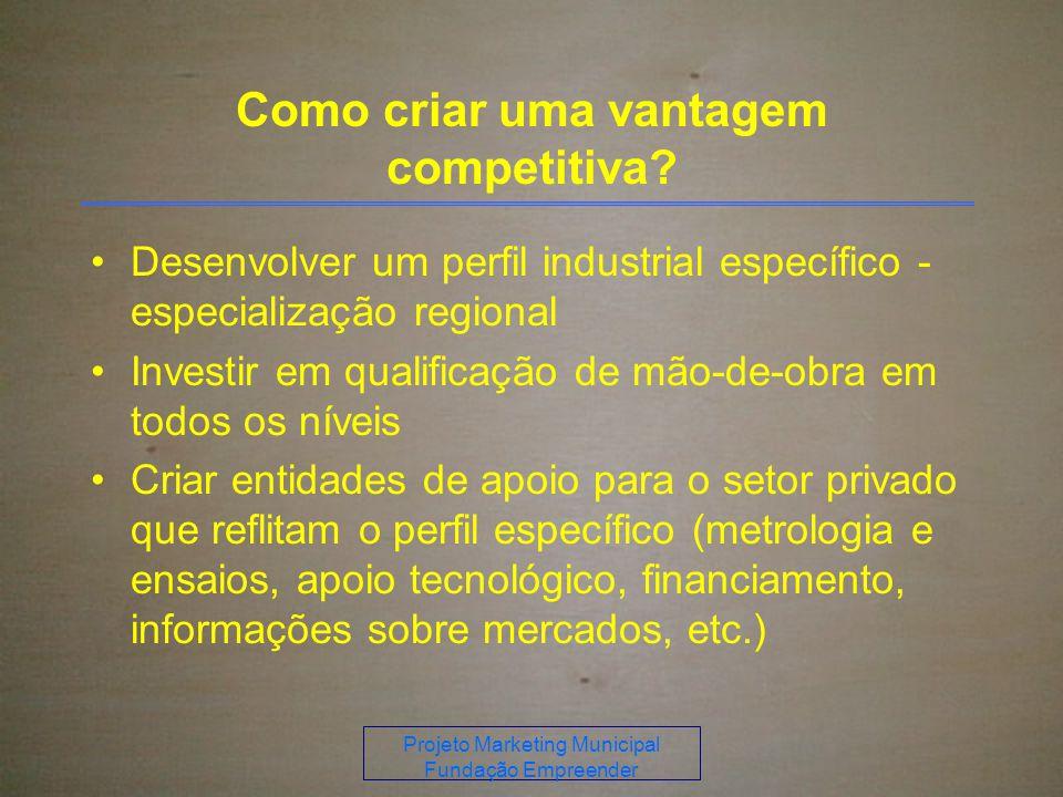 Projeto Marketing Municipal Fundação Empreender Como criar uma vantagem competitiva.