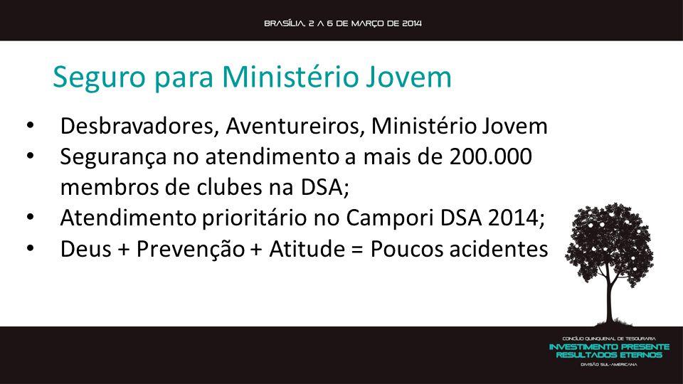 Seguro para Ministério Jovem Desbravadores, Aventureiros, Ministério Jovem Segurança no atendimento a mais de 200.000 membros de clubes na DSA; Atendi