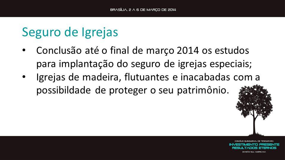 Seguro de Igrejas Conclusão até o final de março 2014 os estudos para implantação do seguro de igrejas especiais; Igrejas de madeira, flutuantes e inacabadas com a possibildade de proteger o seu patrimônio.