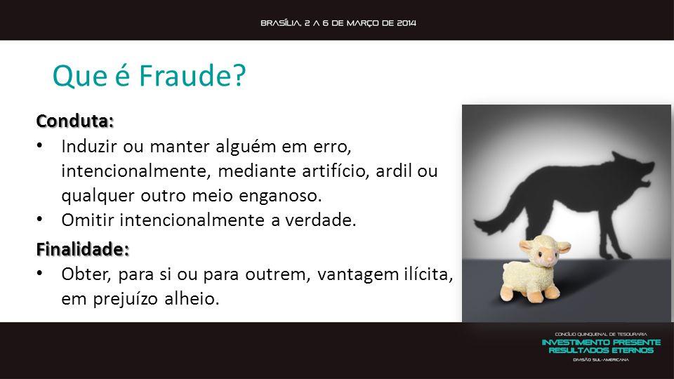 Que é Fraude? Conduta: Induzir ou manter alguém em erro, intencionalmente, mediante artifício, ardil ou qualquer outro meio enganoso. Omitir intencion