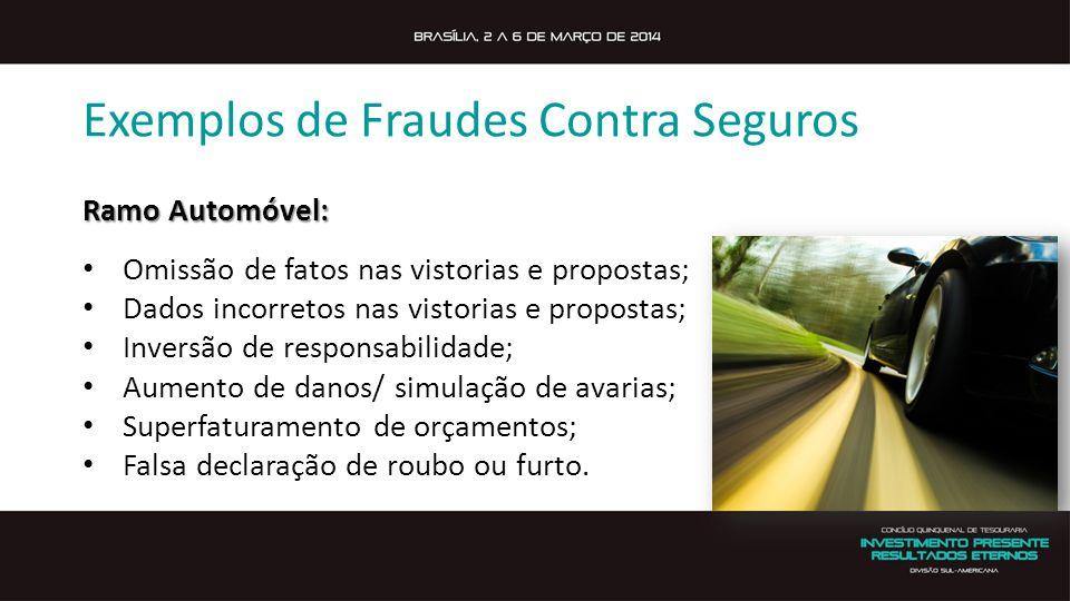Exemplos de Fraudes Contra Seguros Ramo Automóvel: Omissão de fatos nas vistorias e propostas; Dados incorretos nas vistorias e propostas; Inversão de responsabilidade; Aumento de danos/ simulação de avarias; Superfaturamento de orçamentos; Falsa declaração de roubo ou furto.