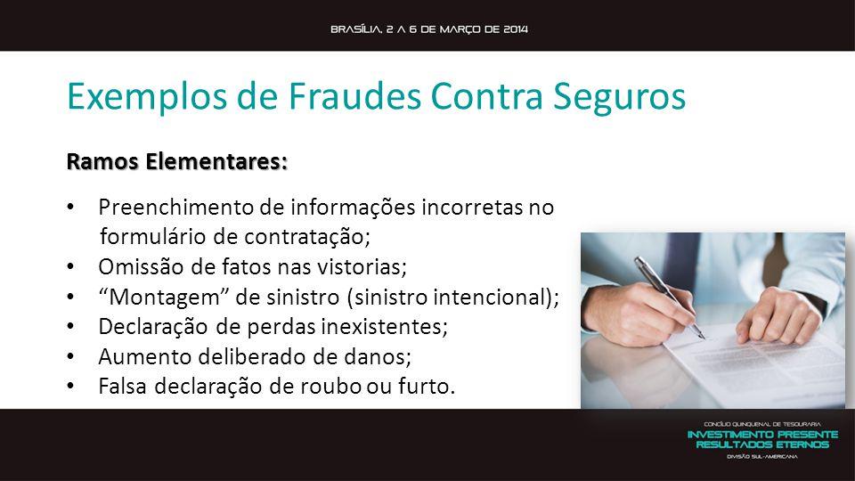 Exemplos de Fraudes Contra Seguros Ramos Elementares: Preenchimento de informações incorretas no formulário de contratação; Omissão de fatos nas visto