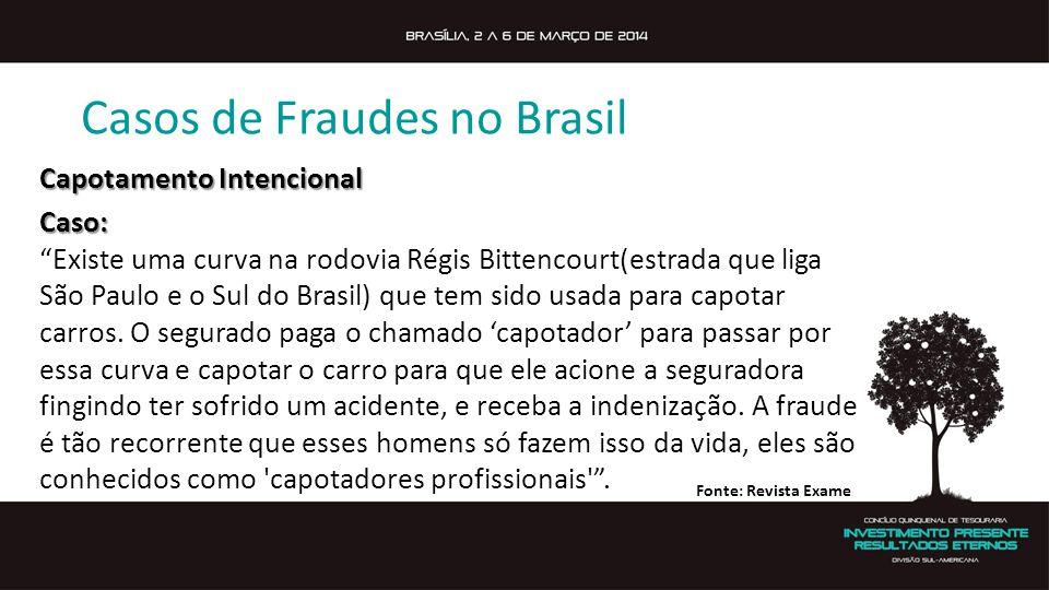 Casos de Fraudes no Brasil Capotamento Intencional Caso: Existe uma curva na rodovia Régis Bittencourt(estrada que liga São Paulo e o Sul do Brasil) que tem sido usada para capotar carros.