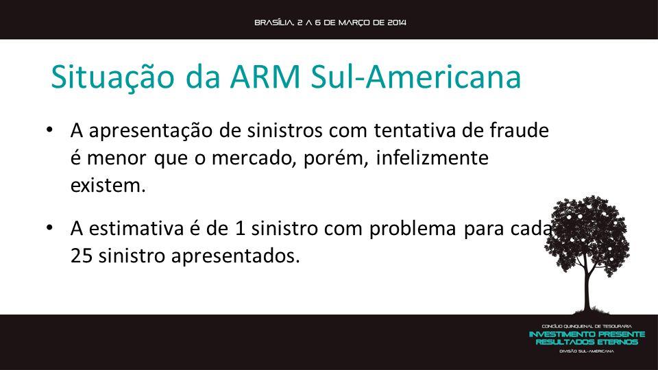 Situação da ARM Sul-Americana A apresentação de sinistros com tentativa de fraude é menor que o mercado, porém, infelizmente existem. A estimativa é d