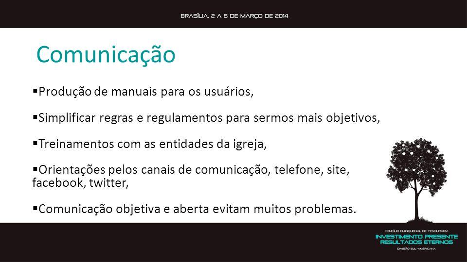 Comunicação Produção de manuais para os usuários, Simplificar regras e regulamentos para sermos mais objetivos, Treinamentos com as entidades da igrej