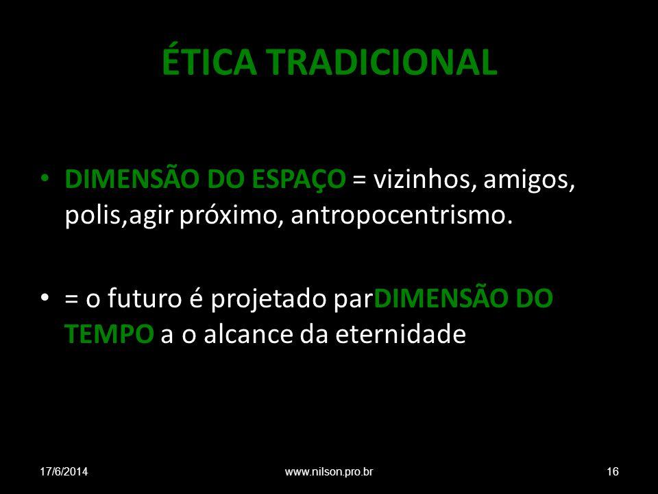 ÉTICA TRADICIONAL DIMENSÃO DO ESPAÇO = vizinhos, amigos, polis,agir próximo, antropocentrismo. = o futuro é projetado parDIMENSÃO DO TEMPO a o alcance