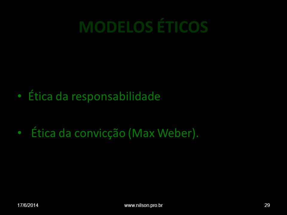 MODELOS ÉTICOS Ética da responsabilidade Ética da convicção (Max Weber). 17/6/201429www.nilson.pro.br