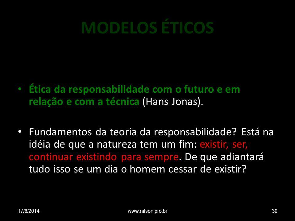 MODELOS ÉTICOS Ética da responsabilidade com o futuro e em relação e com a técnica (Hans Jonas). Fundamentos da teoria da responsabilidade? Está na id