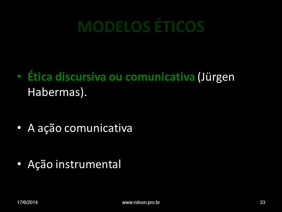 MODELOS ÉTICOS Ética discursiva ou comunicativa (Jürgen Habermas). A ação comunicativa Ação instrumental 17/6/201433www.nilson.pro.br