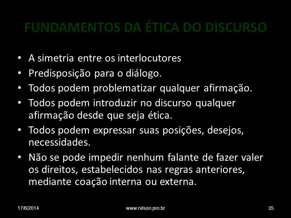 FUNDAMENTOS DA ÉTICA DO DISCURSO A simetria entre os interlocutores Predisposição para o diálogo.