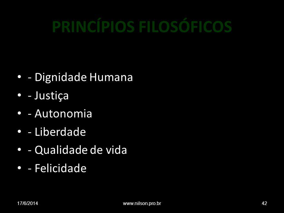 PRINCÍPIOS FILOSÓFICOS - Dignidade Humana - Justiça - Autonomia - Liberdade - Qualidade de vida - Felicidade 17/6/201442www.nilson.pro.br