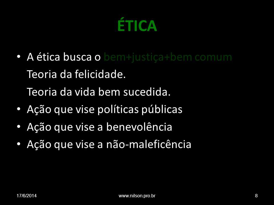 ÉTICA A ética busca o bem+justiça+bem comum Teoria da felicidade. Teoria da vida bem sucedida. Ação que vise políticas públicas Ação que vise a benevo