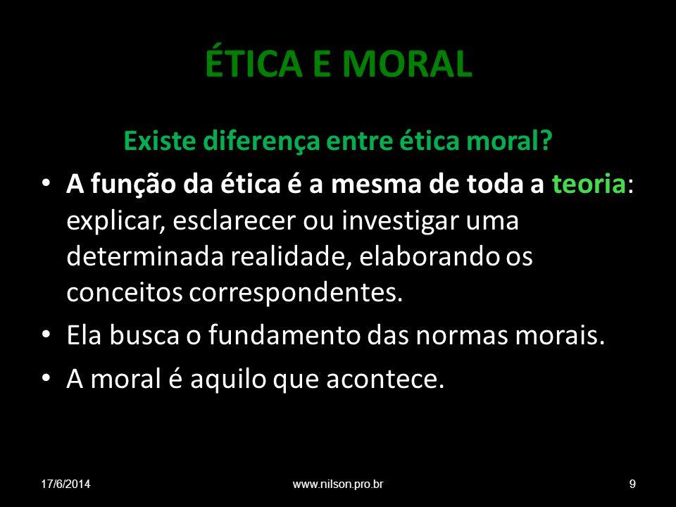ÉTICA E MORAL Existe diferença entre ética moral? A função da ética é a mesma de toda a teoria: explicar, esclarecer ou investigar uma determinada rea