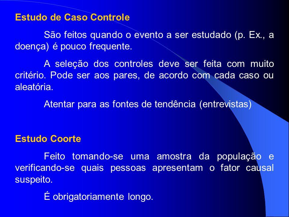 Estudo de Caso Controle São feitos quando o evento a ser estudado (p. Ex., a doença) é pouco frequente. A seleção dos controles deve ser feita com mui