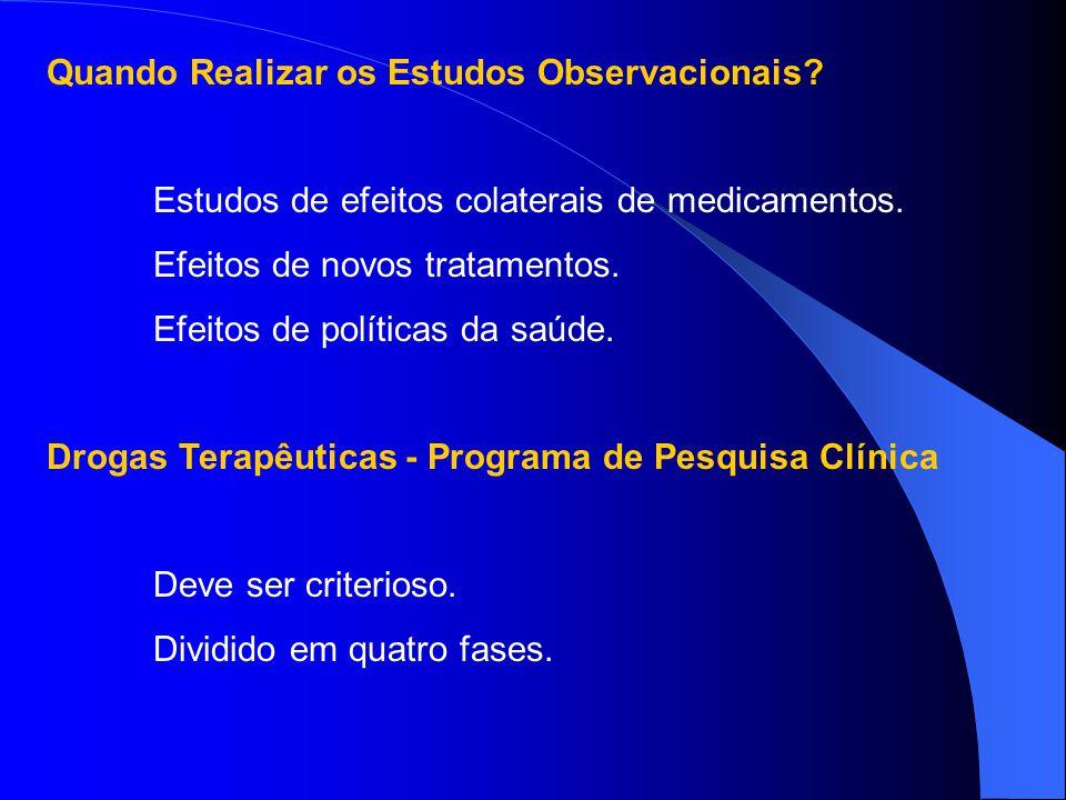 Quando Realizar os Estudos Observacionais? Estudos de efeitos colaterais de medicamentos. Efeitos de novos tratamentos. Efeitos de políticas da saúde.
