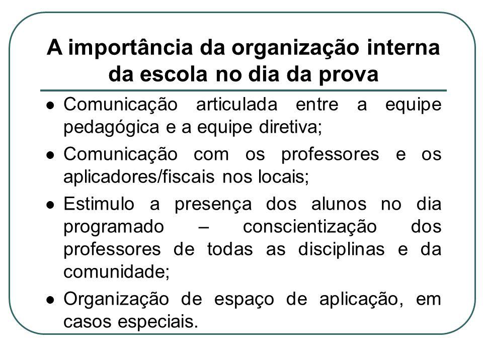 A importância da organização interna da escola no dia da prova Comunicação articulada entre a equipe pedagógica e a equipe diretiva; Comunicação com o