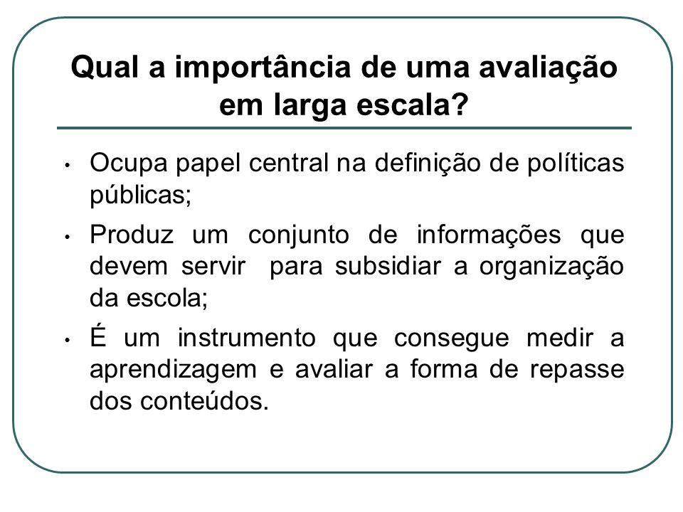 Qual a importância de uma avaliação em larga escala? Ocupa papel central na definição de políticas públicas; Produz um conjunto de informações que dev