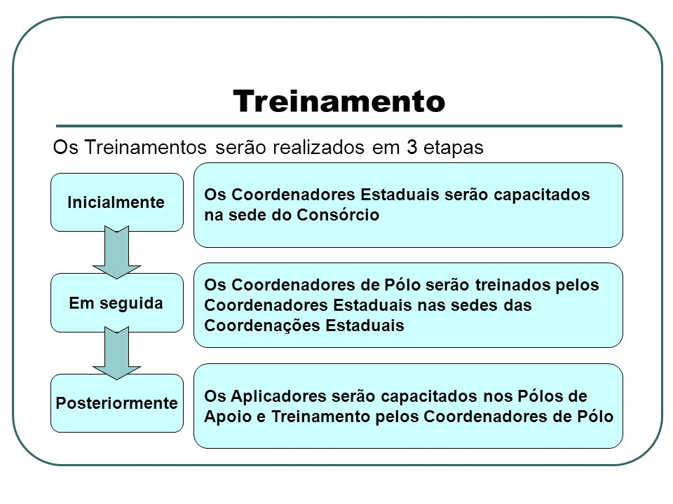 Treinamento Inicialmente Os Coordenadores Estaduais serão capacitados na sede do Consórcio Em seguida Os Coordenadores de Pólo serão treinados pelos Coordenadores Estaduais nas sedes das Coordenações Estaduais Posteriormente Os Aplicadores serão capacitados nos Pólos de Apoio e Treinamento pelos Coordenadores de Pólo Os Treinamentos serão realizados em 3 etapas