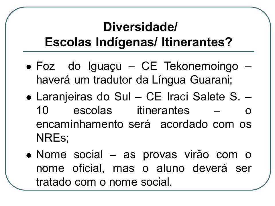 Diversidade/ Escolas Indígenas/ Itinerantes? Foz do Iguaçu – CE Tekonemoingo – haverá um tradutor da Língua Guarani; Laranjeiras do Sul – CE Iraci Sal