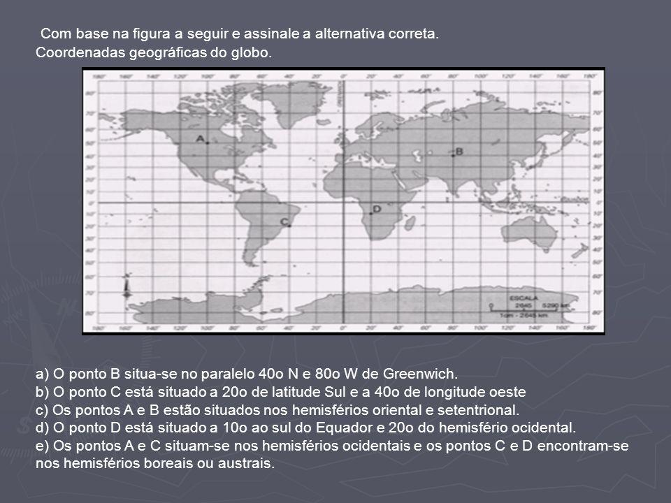 Com base na figura a seguir e assinale a alternativa correta. Coordenadas geográficas do globo. a) O ponto B situa-se no paralelo 40o N e 80o W de Gre