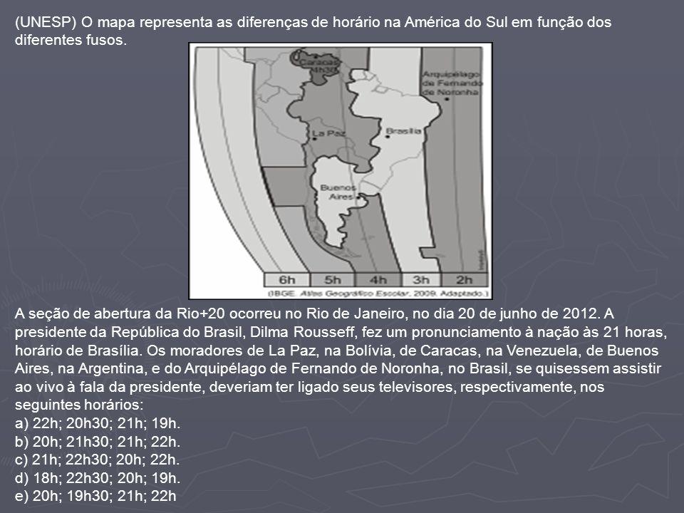 (UNESP) O mapa representa as diferenças de horário na América do Sul em função dos diferentes fusos. A seção de abertura da Rio+20 ocorreu no Rio de J