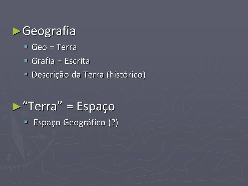 Geografia Geografia Geo = Terra Geo = Terra Grafia = Escrita Grafia = Escrita Descrição da Terra (histórico) Descrição da Terra (histórico) Terra = Es