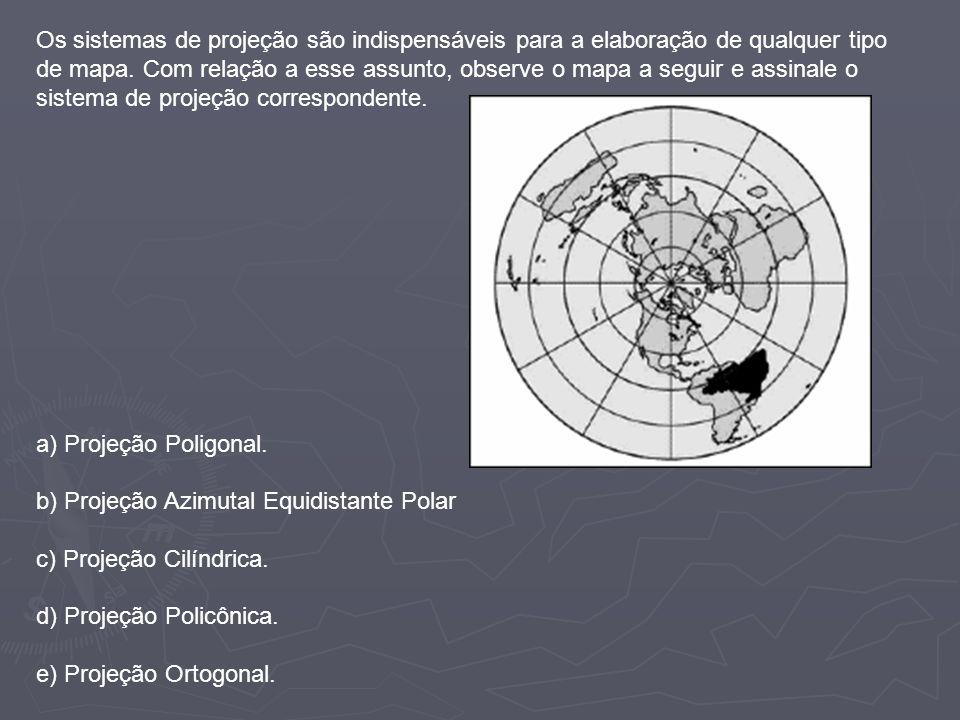 Os sistemas de projeção são indispensáveis para a elaboração de qualquer tipo de mapa. Com relação a esse assunto, observe o mapa a seguir e assinale