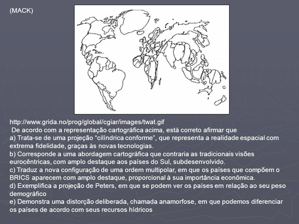 (MACK) http://www.grida.no/prog/global/cgiar/images/twat.gif De acordo com a representação cartográfica acima, está correto afirmar que a) Trata-se de