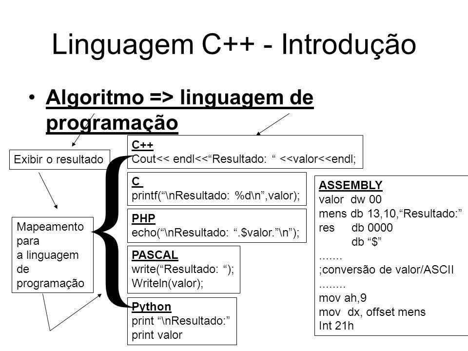 Linguagem C++ - Introdução Algoritmo => linguagem de programação Exibir o resultado C printf(\nResultado: %d\n,valor); Mapeamento para a linguagem de programação C++ Cout<< endl<<Resultado: <<valor<<endl; PHP echo(\nResultado:.$valor.\n); PASCAL write(Resultado: ); Writeln(valor); ASSEMBLY valor dw 00 mens db 13,10,Resultado: res db 0000 db $.......