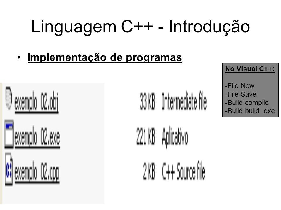 Linguagem C++ - Introdução Implementação de programas disco Editor de texto Gera arquivo fonte (.cpp) Compilador Lê arquivo fonte (.cpp) Gera arquivo objeto Editor de ligação (linker) Lê arquivo objeto, Lê arquivos de bibliotecas Gera arquivo executável No Visual C++: -File New -File Save -Build compile -Build build.exe