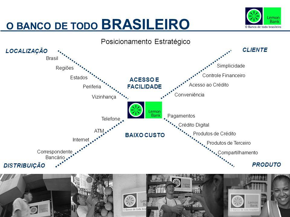 O BANCO DE TODO BRASILEIRO Posicionamento Estratégico LOCALIZAÇÃO ACESSO E FACILIDADE DISTRIBUIÇÃO PRODUTO CLIENTE BAIXO CUSTO Brasil Regiões Estados Periferia Vizinhança Simplicidade Controle Financeiro Acesso ao Crédito Conveniência Telefone ATM Internet Correspondente Bancário Produtos de Terceiro Compartilhamento Produtos de Crédito Crédito Digital Pagamentos