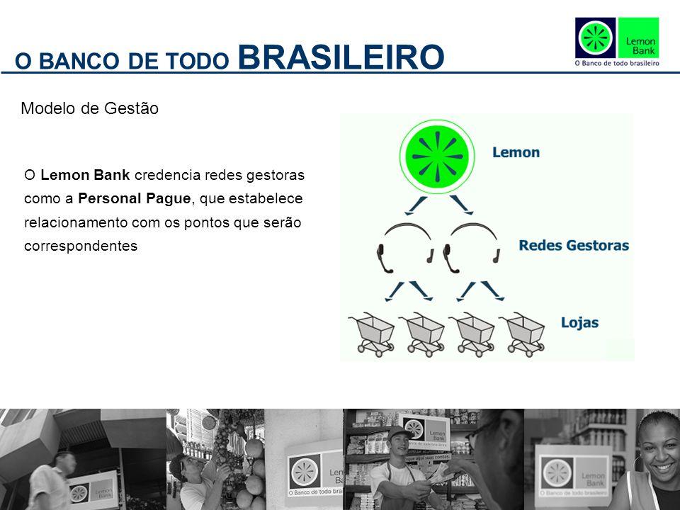 O BANCO DE TODO BRASILEIRO Modelo de Gestão O Lemon Bank credencia redes gestoras como a Personal Pague, que estabelece relacionamento com os pontos que serão correspondentes