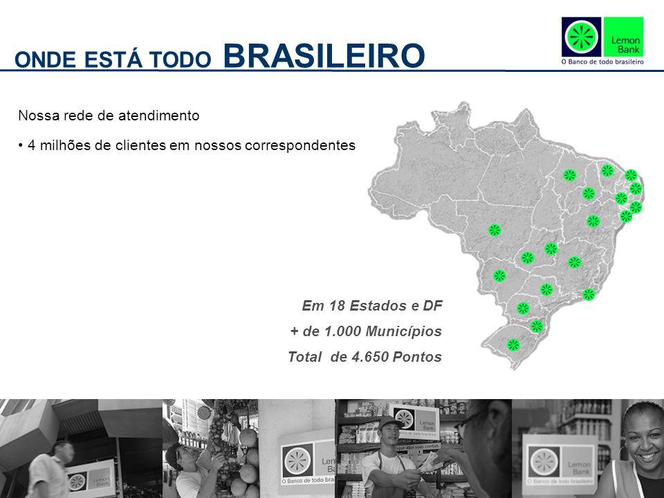 ONDE ESTÁ TODO BRASILEIRO Nossa rede de atendimento 4 milhões de clientes em nossos correspondentes Em 18 Estados e DF + de 1.000 Municípios Total de 4.650 Pontos