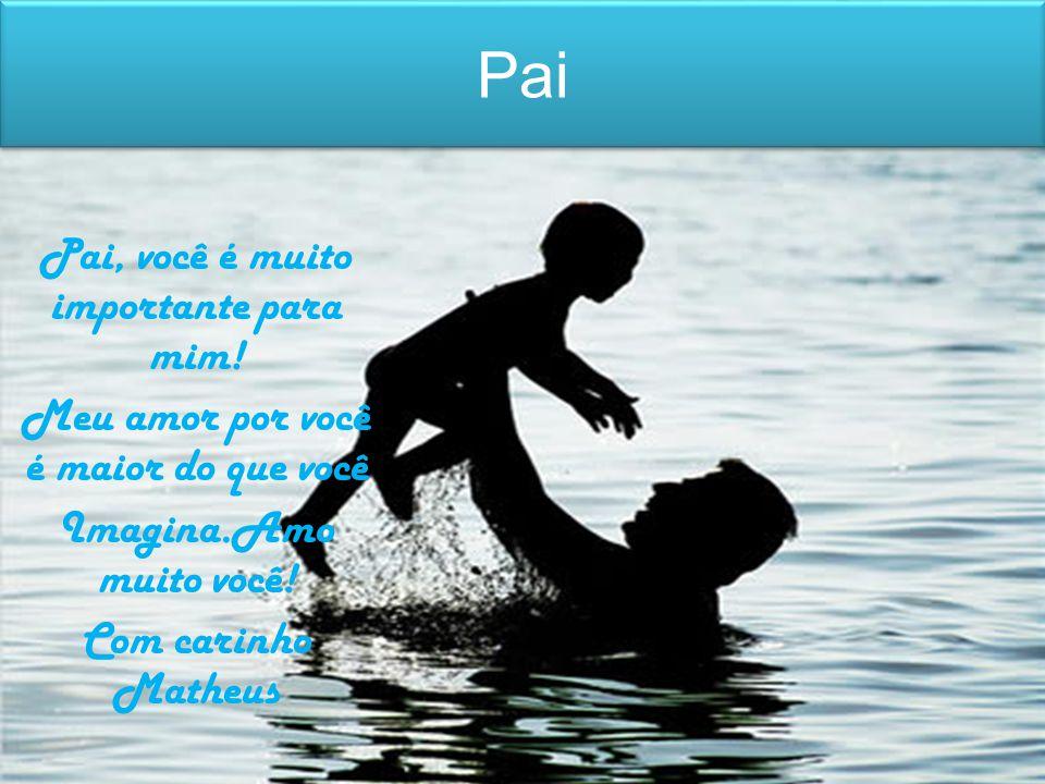 Pai Pai, você é muito importante para mim! Meu amor por você é maior do que você Imagina.Amo muito você! Com carinho Matheus
