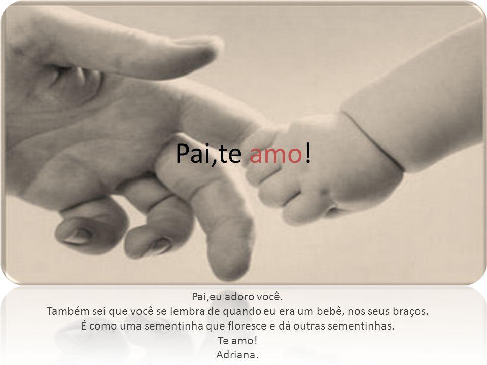 Pai,te amo! Pai,eu adoro você. Também sei que você se lembra de quando eu era um bebê, nos seus braços. É como uma sementinha que floresce e dá outras