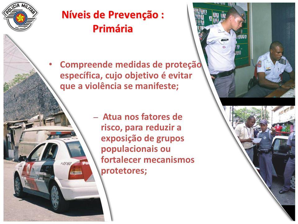 Níveis de Prevenção : Primária Compreende medidas de proteção específica, cujo objetivo é evitar que a violência se manifeste; – Atua nos fatores de r